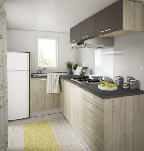 Cuisine du mobil-home confort 2 chambres